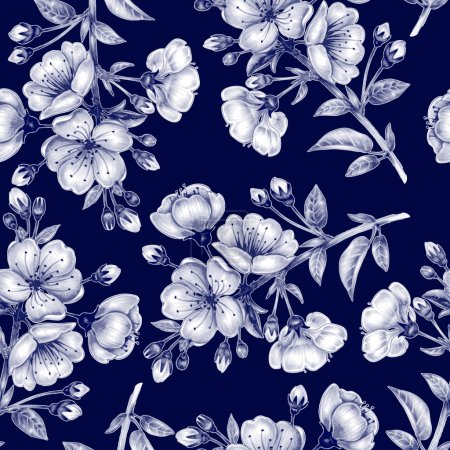 Illustration for Vector seamless background. A branch of cherry blossoms. Design for fabrics, textiles, paper, wallpaper, web. Floral ornament. Black and white. - Royalty Free Image