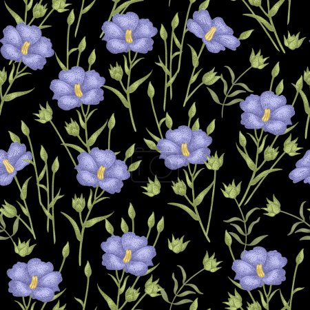 Illustration for Vintage vector pattern with flowers linen on a black background. Graphic handmade textiles, fabrics, paper, curtains, curtains, wallpaper, vintage style. - Royalty Free Image
