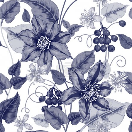 Illustration for Floral seamless pattern on a white background for fabrics, textiles, wallpaper, paper. Vector. Black clematis flowers and ornamental berries. Design Victorian style. - Royalty Free Image