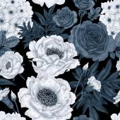 Seamless pattern with flowers roses peonies hydrangeas carnat