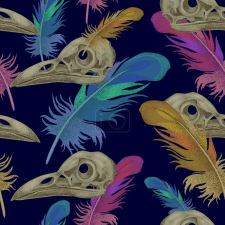 Seamless vector pattern with skulls and crow feath...
