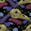 Seamless pattern with skulls, feathers and flowers...