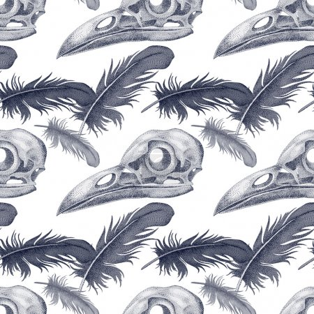 Illustration for Vector seamless pattern with skulls and raven feathers. Black and white - Royalty Free Image