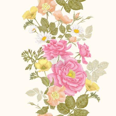 Illustration pour Vintage fond floral sans couture avec des roses en fleurs et des fleurs de jardin. Modèle vectoriel. Illustration pour utilisation dans le design d'intérieur, les œuvres d'art, la vaisselle, les vêtements, l'emballage, les cartes de vœux, les fenêtres de magasin . - image libre de droit