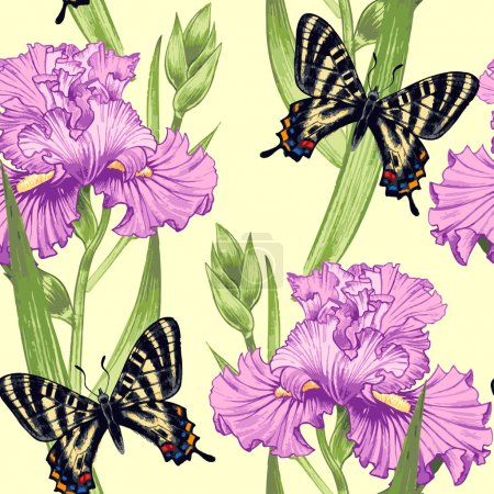Illustration for Vector seamless background. Design for fabrics, textiles, paper, wallpaper, web. Irises, butterfly. Retro. Vintage style. - Royalty Free Image