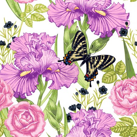 Illustration for Vector seamless background. Design for fabrics, textiles, paper, wallpaper, web. Irises, bindweed, rose, butterfly. Retro. Vintage style. - Royalty Free Image