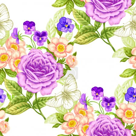 Illustration for Floral seamless pattern. Flowers roses, peonies, pansies, butterflies. Design paper, wallpaper, cards, invitations, packaging, textiles, interior decoration, upholstery fabrics. Vector. Victorian. - Royalty Free Image