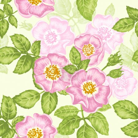 Illustration for Floral seamless pattern. Flowers roses, peonies. Design paper, wallpaper, cards, invitations, packaging, textiles, interior decoration, upholstery fabrics. Vector. Victorian. - Royalty Free Image