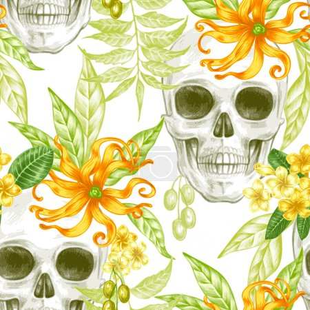 Seamless vector pattern with flowers and skulls.