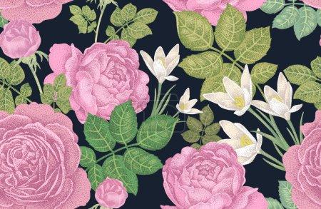 Illustration pour Modèle sans couture vectoriel vintage. Illustration avec roses et fleurs printanières sur fond noir. Conception florale . - image libre de droit
