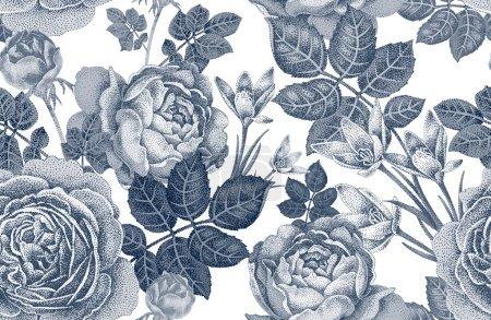 Illustration pour Modèle sans couture vectoriel vintage. Illustration en noir et blanc avec roses et fleurs printanières. Conception florale . - image libre de droit