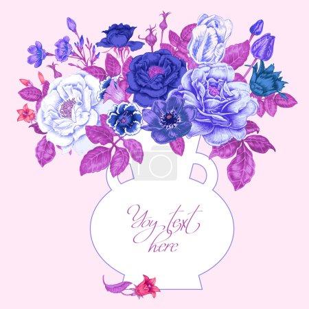 Illustration pour Carte avec l'image des fleurs dans le style victorien sur le fond blanc et place pour votre texte. Fleurs roses, pivoines, tulipes, anémones, bleuets. Illustration vectorielle vintage . - image libre de droit