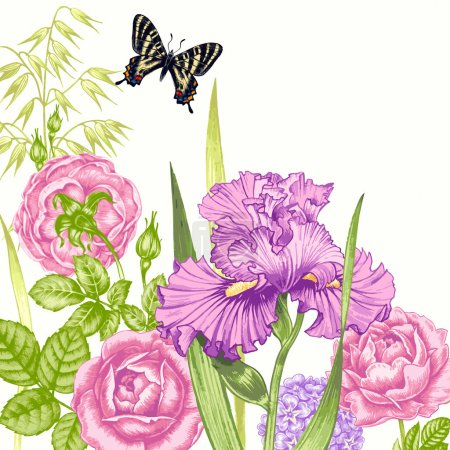 Illustration for Card with the image of flowers in the Victorian style on the white background and place for your text. Flowers roses, irises, butterflies. Vector illustration. - Royalty Free Image