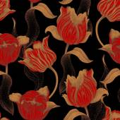 Spring flower tulip Vector seamless floral pattern Garden bulbous tulip flower Illustration - template luxury packaging design textiles paper Gold branches leaves flowers on black background