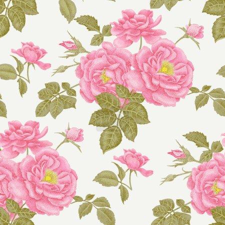 Illustration pour Vintage fond floral sans couture avec des roses en fleurs. Modèle vectoriel. Illustration pour utilisation dans le design d'intérieur, les œuvres d'art, la vaisselle, les vêtements, l'emballage, les cartes de vœux, les fenêtres de magasin . - image libre de droit