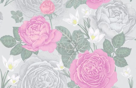 Illustration pour Modèle sans couture vectoriel vintage. Illustration avec roses et fleurs printanières. Conception florale . - image libre de droit