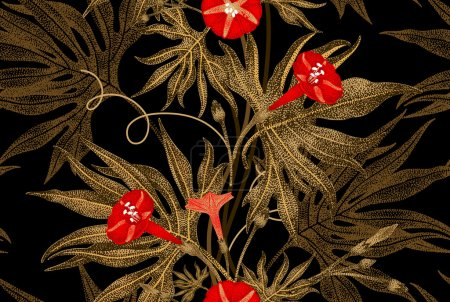 Vector seamless floral pattern in vintage style.