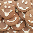 Macro background of fun chocolate cookies...