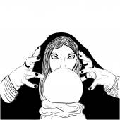 Sketchy woman fortune teller with crystal ball