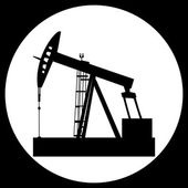 Black vector isolated oil well pump icon