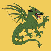 Simple medieval coat of arms green dragon