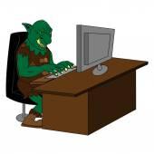 Fat internet troll using a  computer