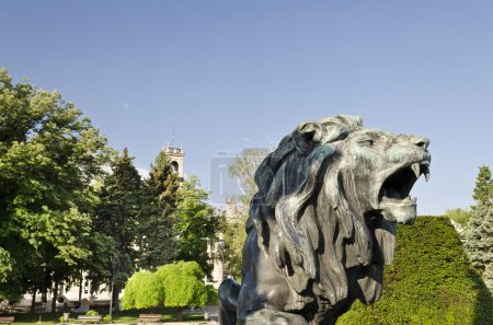 Photo for Statue of a lion  in city center of Ruse, Bulgaria - Royalty Free Image