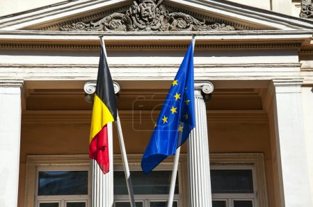Photo for Belgium and European Union flags side by side - Royalty Free Image