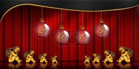 Photo pour Bonne année, vœux, anges, rideau rouge - image libre de droit