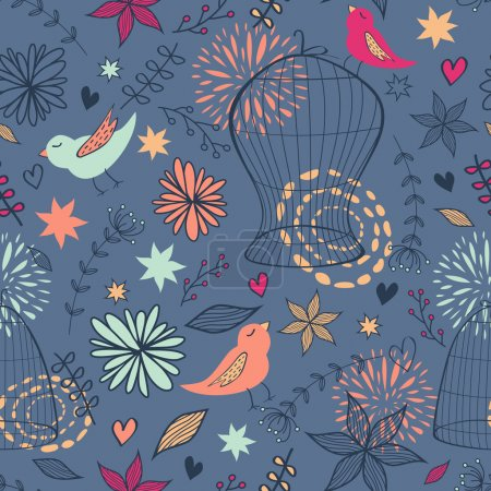 Vector cute seamless floral pattern with birds, cages, flowers,