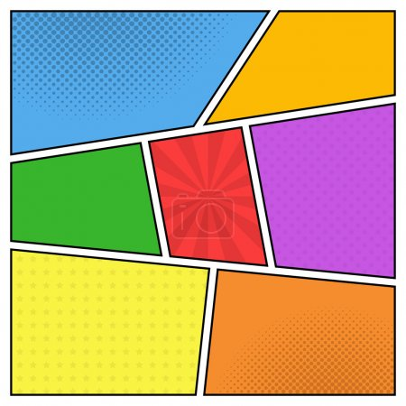 Illustration for Vector colorful template of comic book page with rays, stars, dots, halftone background - Royalty Free Image