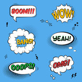 Vector set with comic speech bubbles with sound effects stars a
