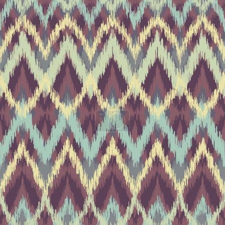 Vector seamless ikat ethnic pattern