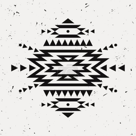 Vector grunge monochrome decorative ethnic pattern. American indian motifs. Background with black aztec tribal ornament.