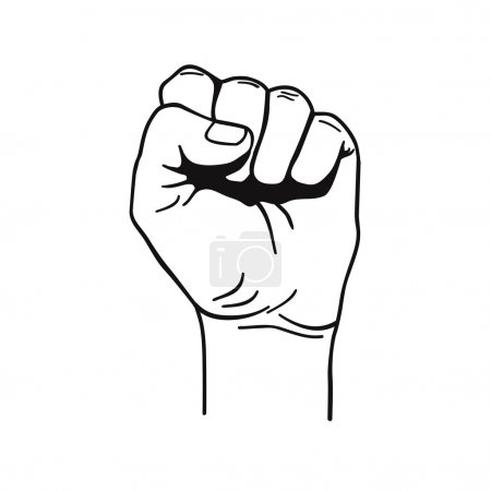 Vector black and white illustration of clenched fist held high in protest