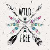 Vector grunge illustration with crossed ethnic arrows feathers and tribal ornament Boho and hippie style American indian motifs Wild and Free poster