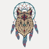 Vector colorful illustration of tribal style wolf with ethnic ornaments and dream catcher American indian motifs Totem tattoo Boho design