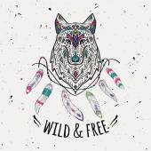 Vector colorful illustration of tribal style wolf with ethnic ornaments feathers threads American indian motifs Boho design Wild and Free concept