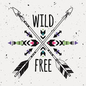 Vector grunge illustration with crossed ethnic arrows and tribal ornament Boho and hippie style American indian motifs Wild and Free poster