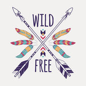Vector colorful illustration with crossed ethnic arrows feathers and tribal ornament Boho and hippie style American indian motifs Wild and Free poster
