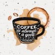 Vector grunge illustration of a coffee cup with ty...