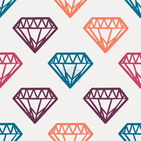 Vector seamless cute colorful pattern with vintage diamonds. Rock and roll style.