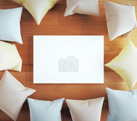 Blank board with pillows