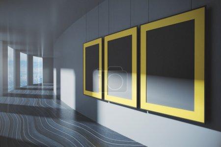 Corridor interior with blank frames