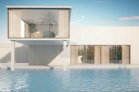 Photo pour Extérieur luxueux de maison avec la piscine sur le fond de ciel. Rendu 3d - image libre de droit