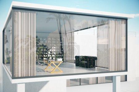 Photo pour Extérieur de la maison avec fenêtres panoramiques, lieu de travail, canapé et étagère. Rendu 3d - image libre de droit