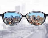 Modern city reflection in sunglasses