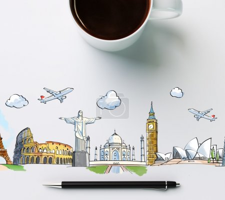 Photo for Travel landmarks with cup of coffee and pen, concept - Royalty Free Image