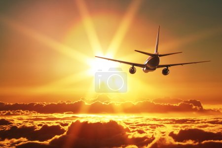 Photo for Plane is taking off at sunset - Royalty Free Image