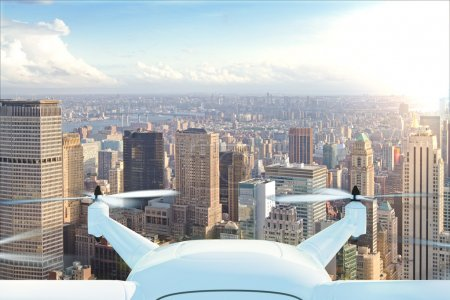 Photo for Drone delivers the goods against the background of New York at sunset - Royalty Free Image